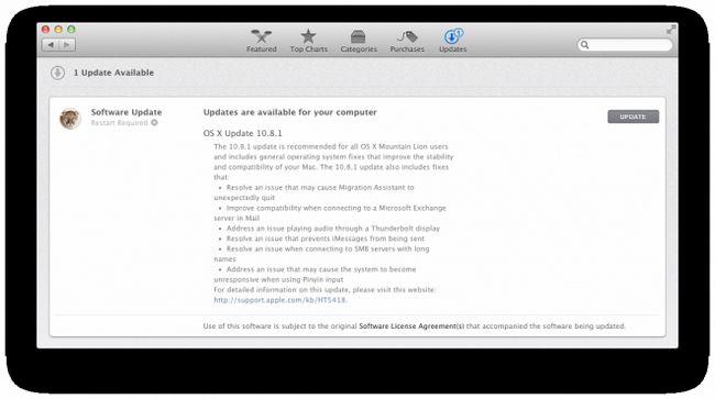 Вийшло оновлення mountain lion 10.8.1